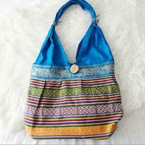 Boho Wooden Button Hobo Bag